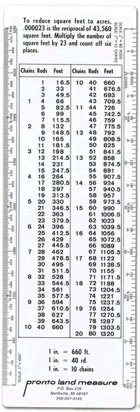 Pronto land measure the land plotting people pronto land measure scalings in chains rods feet handy conversion table featured on front and back converts 165 feet up to 2640 feet chains rods watchthetrailerfo